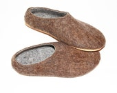 Brown Gray Felted Shoes - Wool Slippers - Christmas in July - Minimalist Shoes - Mens Slippers - House Shoes - Cork Soles - Gift for Him