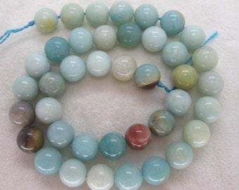 Natural Amazonite Smooth Round Gemstone Beads 10mm