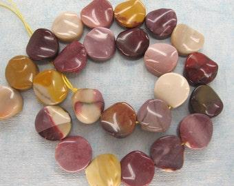 Full Strand Australian Mookaite Polish Twisted Coin Beads