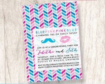 Mustache Lipstick Baby Shower Invitation, Gender Reveal Party - DiY Printable, Print Service Available || Blue or Pink Chevron Gender Reveal