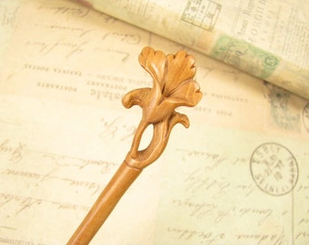 Peach Wood Hair Stick - Morning Glory