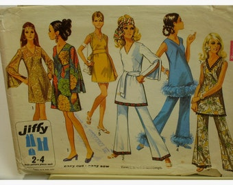 "1960s Mod Mini Dress Pattern, Tunic, V-Neck, Sleeveless, Bell Split Sleeves, Simplicity No. 8234 Size 16 Bust 38"" 97cm"