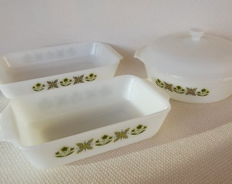 Vintage Set of Fire King Meadow Baking Dishes and Covered Casserole 4 Pieces