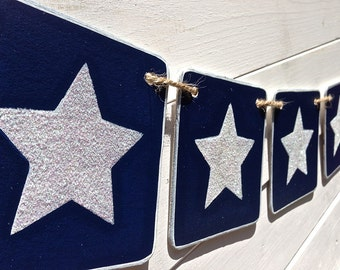 Glitter star banner, Nautical Banner, Navy blue and white, summer banner, boys bedroom banner, party banner, photography prop
