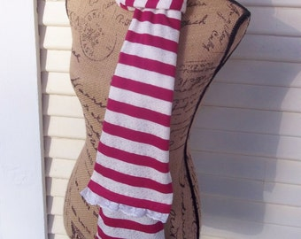 long lace trimmed fabric Euro handmade scarf
