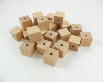 """Square Wood Beads 3/4"""" x 3/4"""" with 3/16"""" Hole Unfinished Wood - 25 Pieces"""