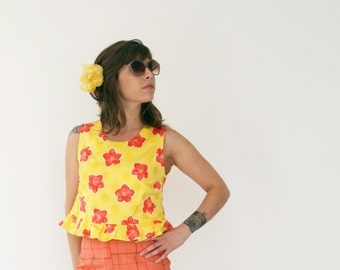 Clearance SALE/ Retro Peplum Floral Crop Top / Neon Yellow and orange printed shirt /  sleevless shirt / Summer fashion