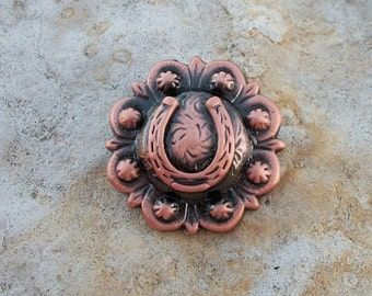 Concho Antiqued Copper Horseshoe Small Perfect for Ring