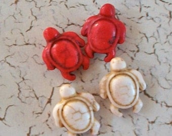 Tiny Cream Colored and Bright Red Magnasite Turtle Beads