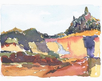 Original Watercolor Painting Watercolor and Ink Landscape Painting Mountain Art