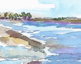 Original Watercolor Painting Watercolor and Ink Ocean Painting Seascape SFA