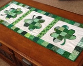 Lucky Shamrocks Quilted Patchwork Table Runner by Sweet Tooth Quilts