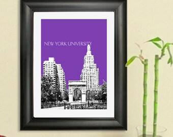 New York University Skyline Poster - New York City,  New York Skyline - Art Print - 8 x 10 Choose Your Color