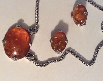 Vintage Amber Necklace/Clip Earring Set/Free Shipping