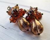 Statement Dangle Earrings, Czech Glass Teardrop, Metallic Bronze