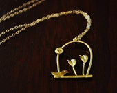 Gold Whimsical Bird on Branch Necklace - Nature inspired, Cute, Delicate and Dainty