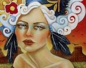 Crows Ravens woman white hair desert Original oil painting