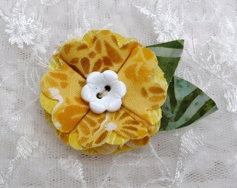 Fabric Flower Hairclip Little Girls Hair Accessory Fashion and Boutique Yellow Cotton Fabric Flower Clip