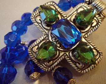 Vintage Style Cross Necklace Earrings Set - Royal Blue Emerald Green rhinestone jewels chunky antique silver large cross cobalt blue beads