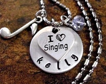 FLASH SALE TODAY Personalized Music Necklace, Singing Necklace, Singer Jewelry, Singing Jewelry, Music Jewelry, Choir Jewelry, Love to Sing