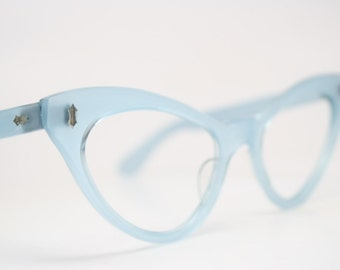 Blue Cat Eye Glasses Cateye Eyeglasses NOS Vintage Glasses