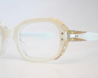 Unused Small White Rhinestone Cat Eye Glasses Cateye Frames Vintage Eyewear 1960s Eyeglasses New Old Stock