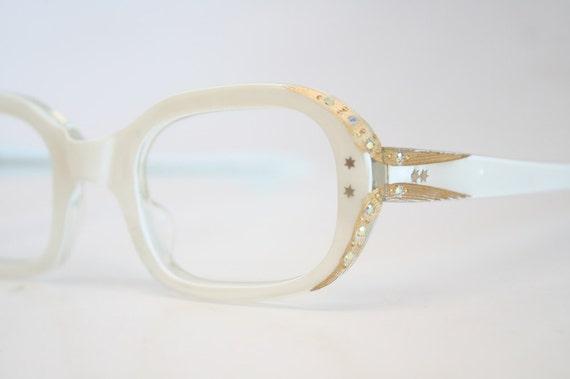Small Frame Cateye Glasses : Unused Small White Rhinestone Cat Eye Glasses Cateye Frames