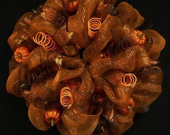 Fall Wreath, Burnt Orange Copper, Poly Mesh Wreath, Door Wreath, Wreaths for the Door (363)
