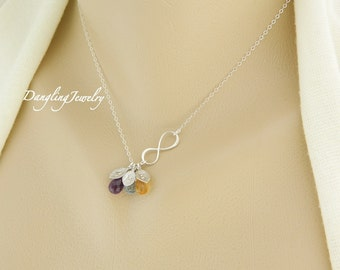 Mother of Three Necklace, Birthstone Necklace, Monogram Necklace, Infinity Necklace, Gift for Mom, Best Friend, Sisters, Mother Necklace