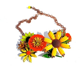 Flower Necklace Collage Collar Statement Necklace Vintage Brooches Bees Fall Autumn by Dabchick Vintage Gems