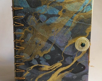 Masculine Earthy Colors Secret Belgian Binding Journal just for the man in your life, Black Brown, Gold, Garden,  Music, Metal Detecting