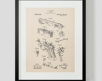 Vintage Gun Patent Print Exploded View