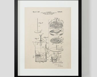 French Press Coffee Kitchen Patent Print 3