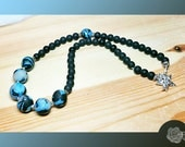"""18"""", Black Recycled Beach Glass, Blue and Black Polymer Handmade Rounds, Pewter Spacers Necklace, Pewter Detailed Star and Moon Toggle Clasp"""