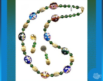 """25"""" Necklace Blue Green Big Floral Lampwork Beads Vintage Brass Beads Matching Gold Pewter/Surgical Steel Clip Earrings or 14K GF Gold Hooks"""