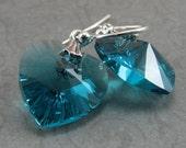 Blue Zircon Crystal Heart Sterling Silver Earrings