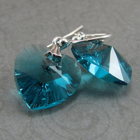 Blue Zircon Crystal Heart Sterling Silver Earrings