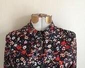 Vintage Black Floral Polyester Shirt