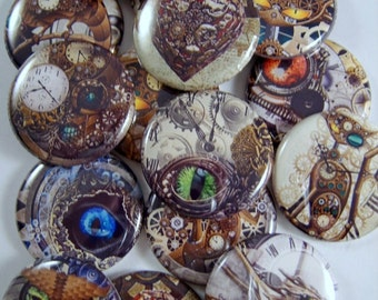 """Steam Punk Magnets, Steam Punk Pins, Steam Punk Cabochons, Magnetic Toppers, 1"""" Inch Flat, Hollow Backs, Cabochons, 1"""" Inch"""