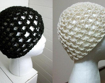 Black or White Net Crochet Beanie Mesh Summer Hat Choose Your Own Size Made To Order