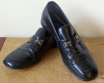 70s/80s Greenish Black Mens Dexter Loafers 10D