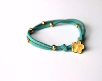 Gold plated flower bracelet with turquoise suede leather and gold plated beads, valentine's day gift for her gift idea