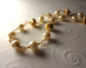 Classic Gold and Pearl Wire Wrapped Necklace