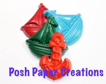 20 sets of 2 sailboat and anchor crayons - in cello bag tied with ribbon - choose your colors