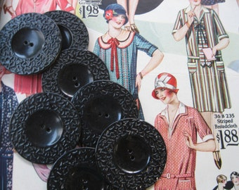 Vintage Black Bakelite Buttons...interesting molded pattern...1930..new old stock...lot of 20