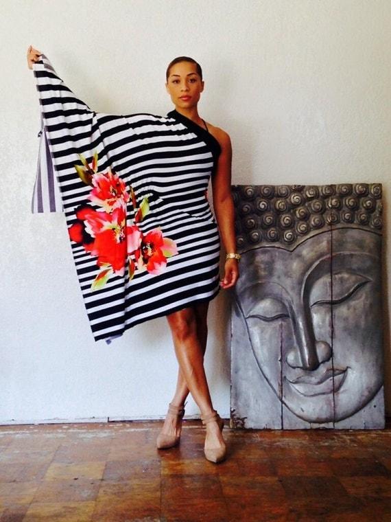 One Shoulder Striped Kimono Sleeve Dress/Tunic