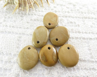 Top Drilled Medium Beach Stones, Set of 6 pcs Organic Beads