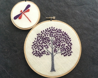Hand embroidered tree and dragonfly hoop art home decor wall decoration in aqua, orange, citrine green, purple or spring green.