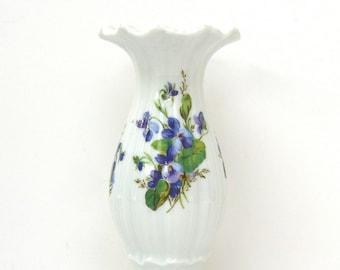 Vintage Candle Holder, Candlestick Purple Violets, Tettau Atelier Bavaria, Vintage White Porcelain, Transferware