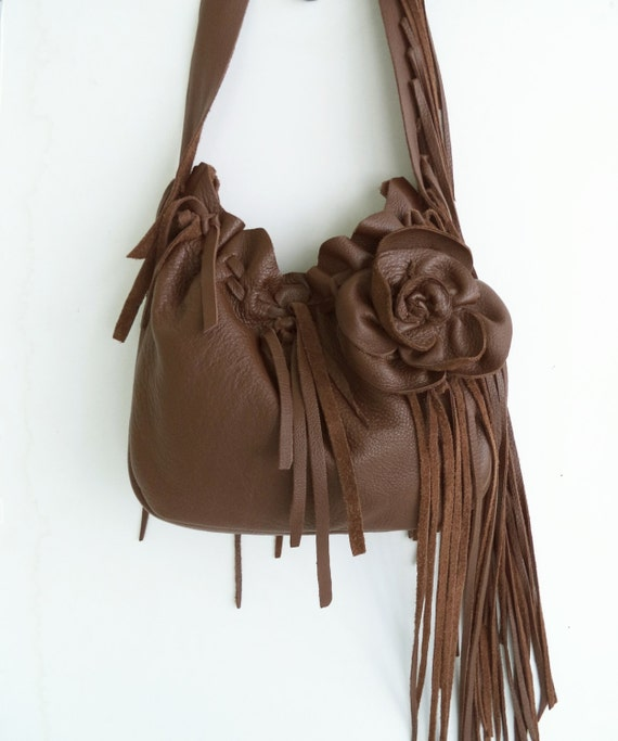 brown leather handbag, shoulder purse, messenger with flower, rose, fringe and ruffle, by Tuscada. Made to order.